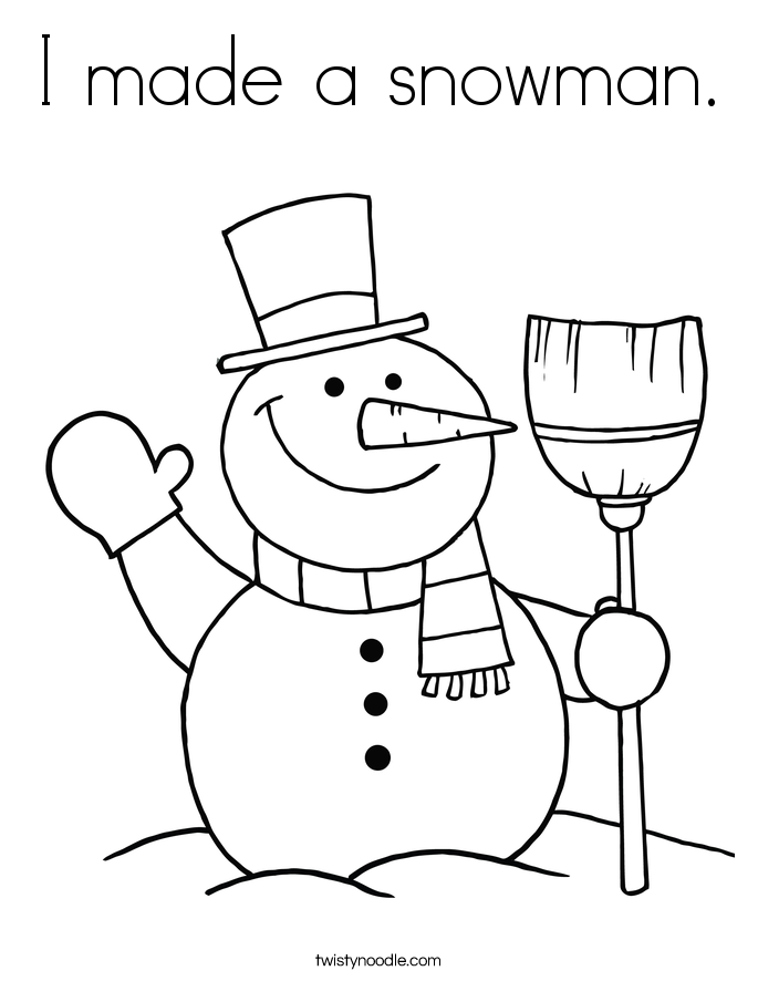 I made a snowman. Coloring Page.