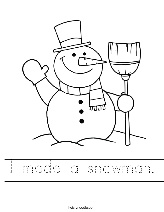 I made a snowman. Worksheet