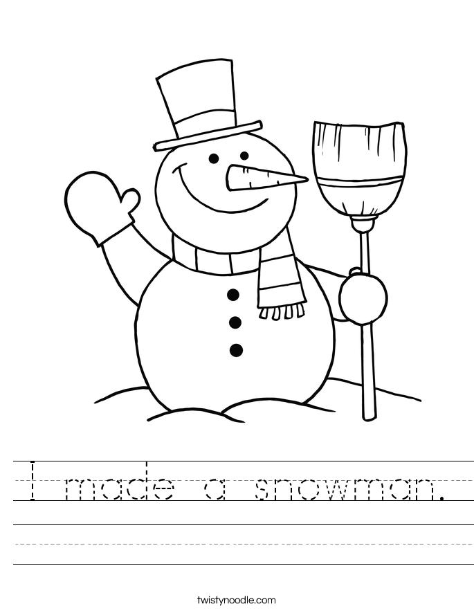 I made a snowman. Worksheet