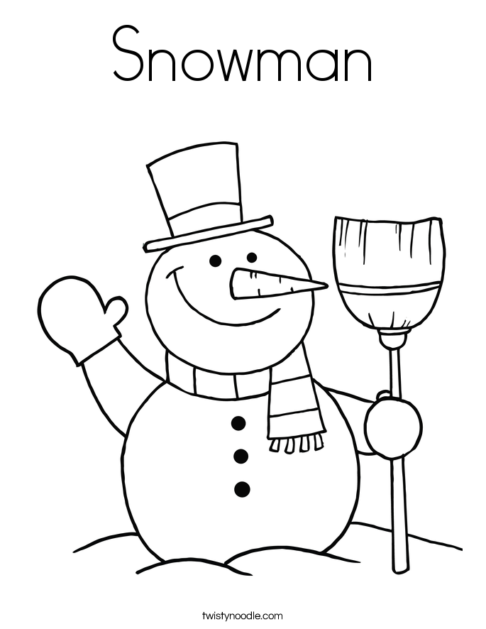 Snowman Coloring Page Twisty Noodle