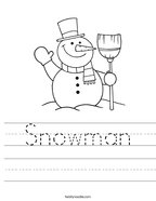 Snowman Handwriting Sheet