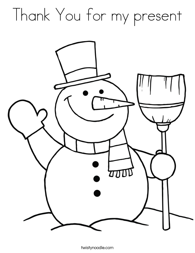 Thank You for my present Coloring Page