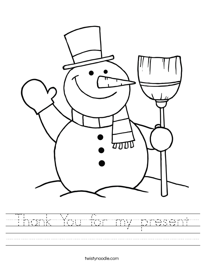 Thank You for my present Worksheet