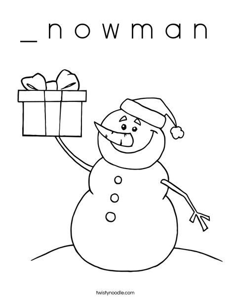 Snowman with a Present Coloring Page