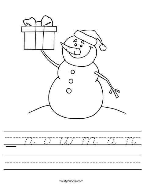 Snowman with a Present Worksheet