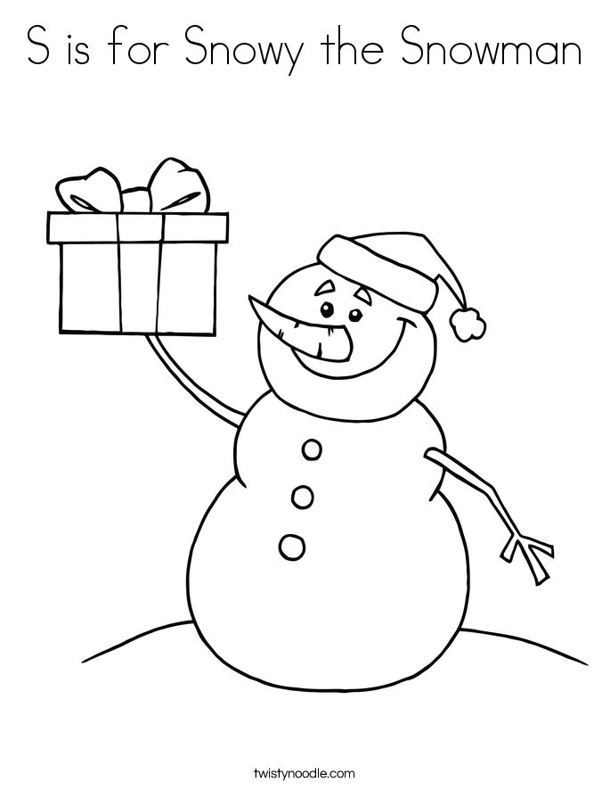 S is for Snowy the Snowman Coloring Page