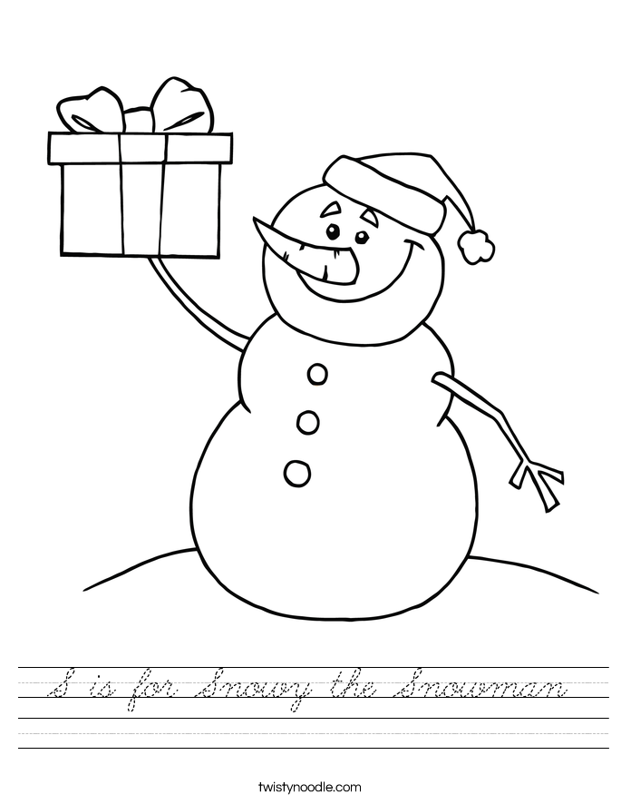 S is for Snowy the Snowman Worksheet