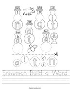 Snowman Build a Word Handwriting Sheet