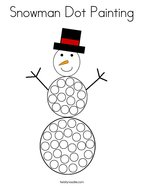 Snowman Dot Painting Coloring Page