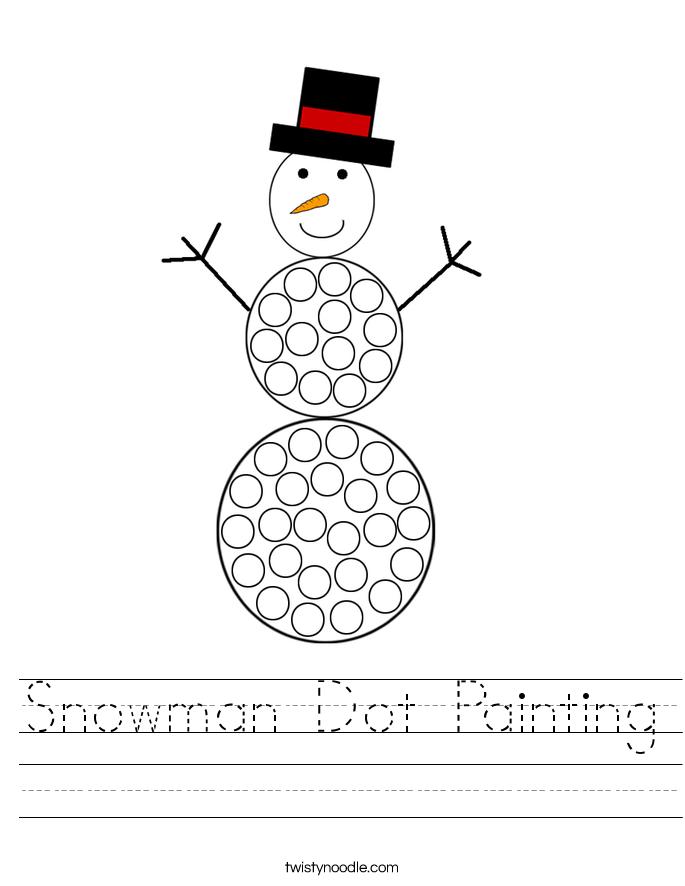 Snowman Dot Painting Worksheet
