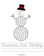 Snowman Dot Painting Handwriting Sheet