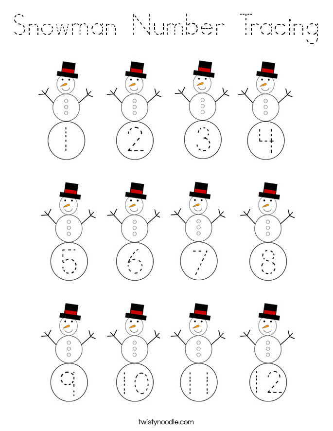 Snowman Number Tracing Coloring Page