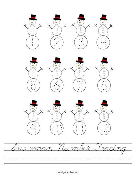 Snowman Number Tracing Worksheet