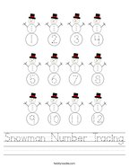 Snowman Number Tracing Handwriting Sheet
