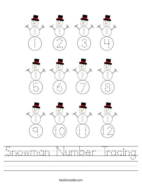 Snowman Number Tracing Worksheet
