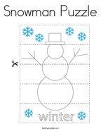 Snowman Puzzle Coloring Page