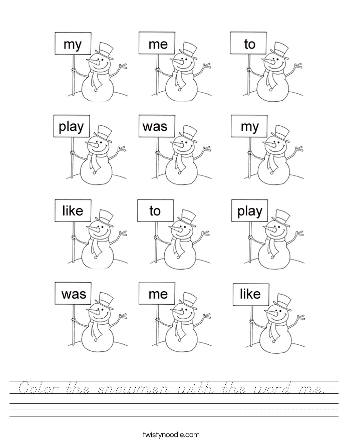 Color the snowmen with the word me. Worksheet