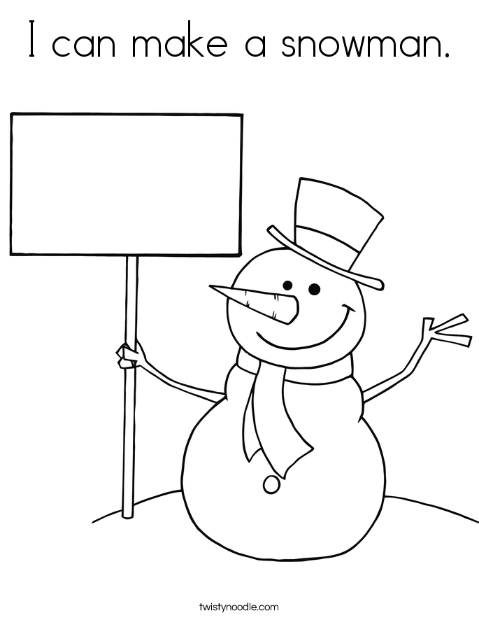I can make a snowman. Coloring Page