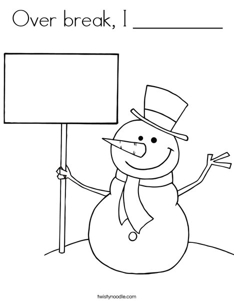 Snowman with Sign Coloring Page