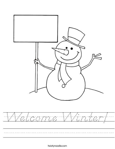 Snowman with Sign Worksheet