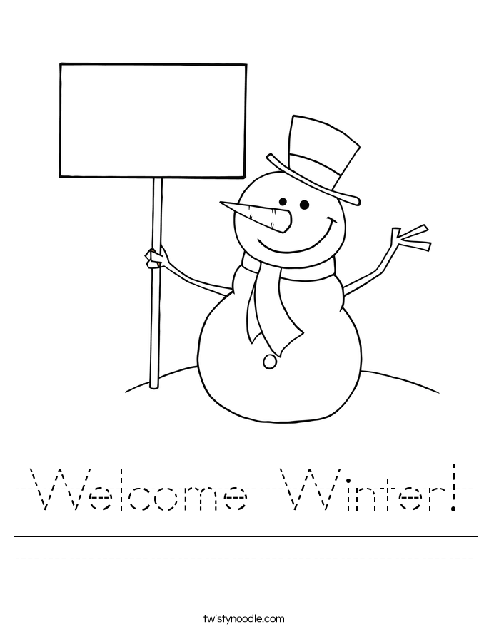Welcome Winter! Worksheet