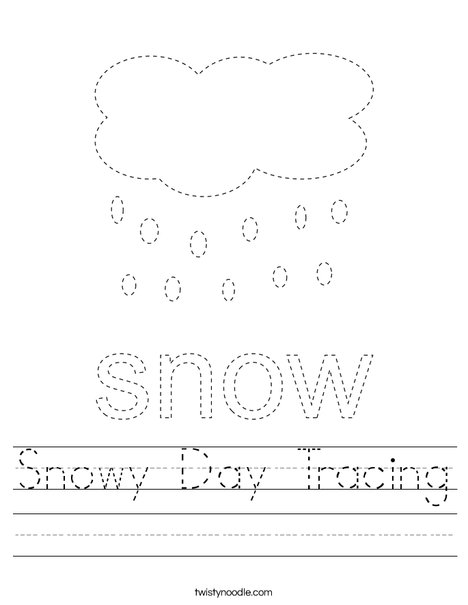 Snowy Day Tracing Worksheet