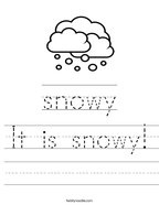 It is snowy Handwriting Sheet