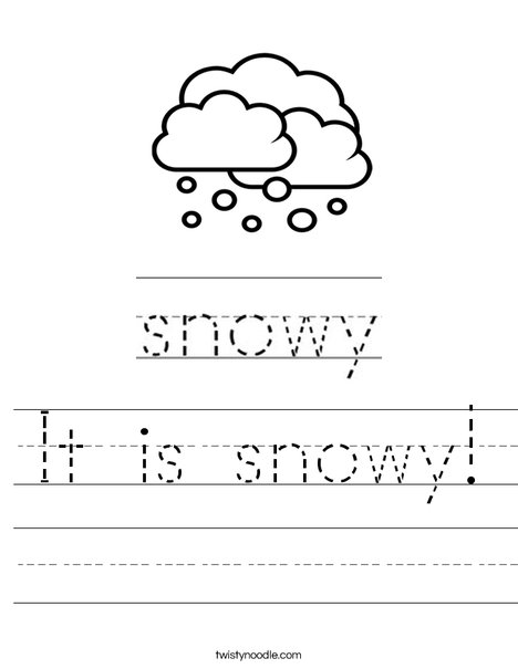 Snowy Worksheet