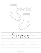 Socks Handwriting Sheet