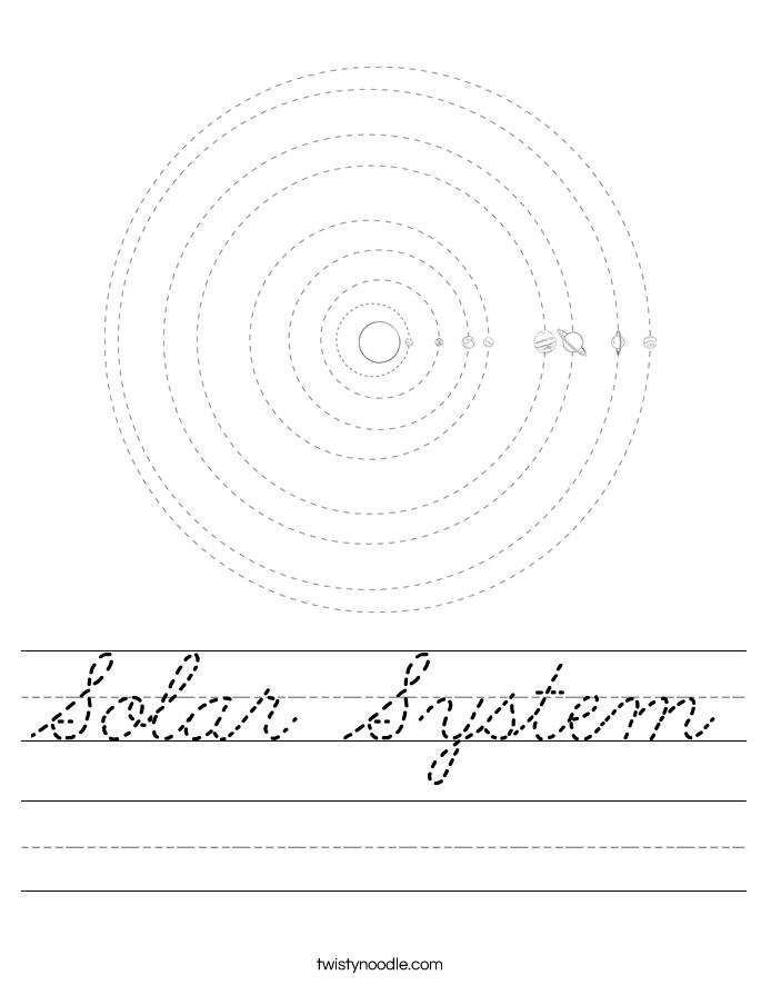 Solar System Worksheet - Cursive - Twisty Noodle