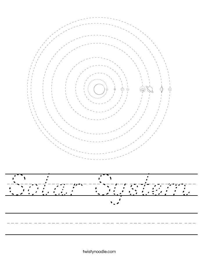 Solar System Worksheet - D'Nealian - Twisty Noodle