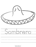 Sombrero Handwriting Sheet