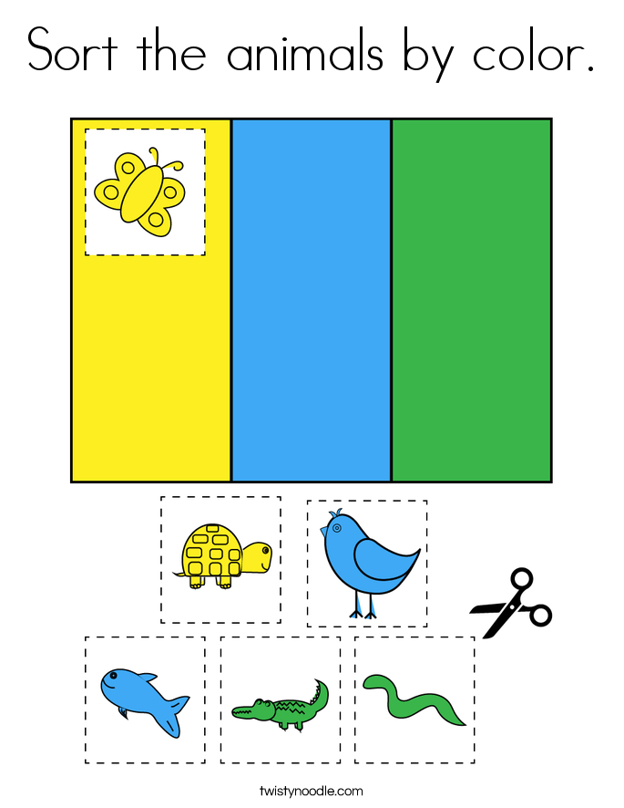 Sort the animals by color. Coloring Page