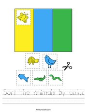 Sort the animals by color Handwriting Sheet