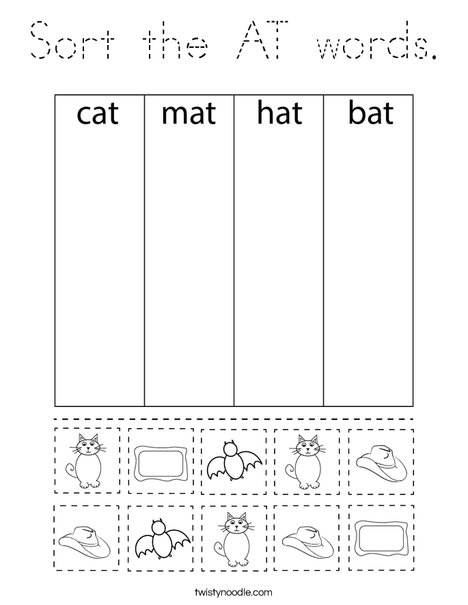 Sort the AT words. Coloring Page
