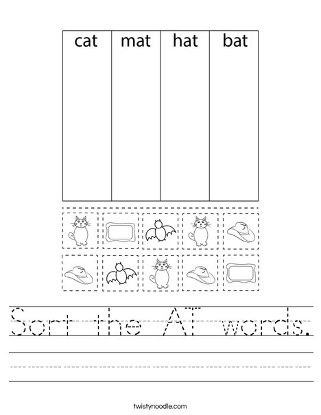 Sort the AT words. Worksheet
