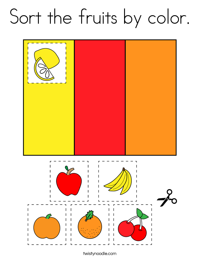 Sort the fruits by color. Coloring Page