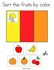 Sort the fruits by color Coloring Page