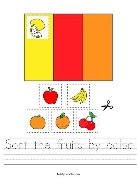 Sort the fruits by color. Worksheet