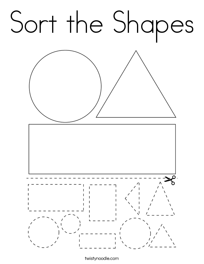 Sort the Shapes Coloring Page
