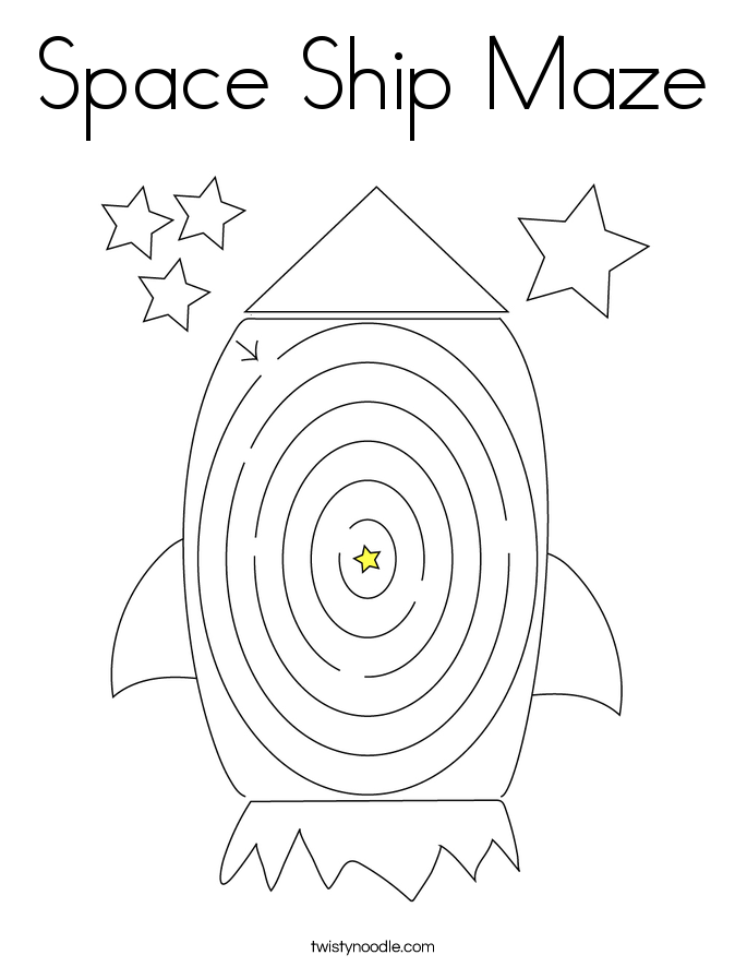 Space Ship Maze Coloring Page