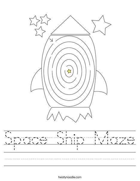 Space Ship Maze Worksheet