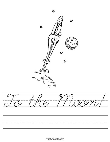 Space Shuttle with Moon Worksheet