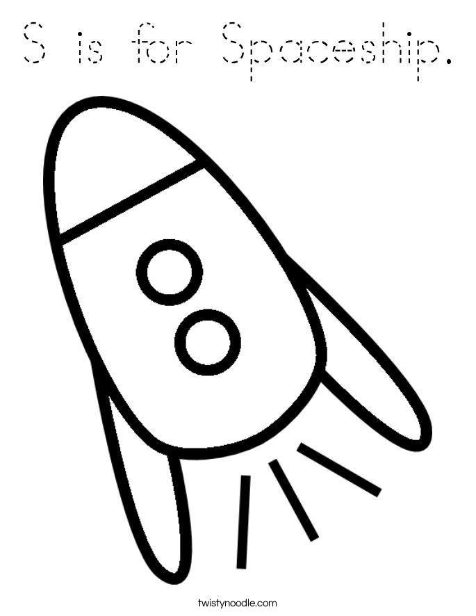 S is for Spaceship. Coloring Page