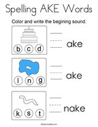 Spelling AKE Words Coloring Page