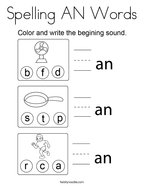 Spelling AN Words Coloring Page