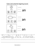 Spelling AN Words Handwriting Sheet