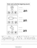 Spelling AN Words Handwriting Sheet