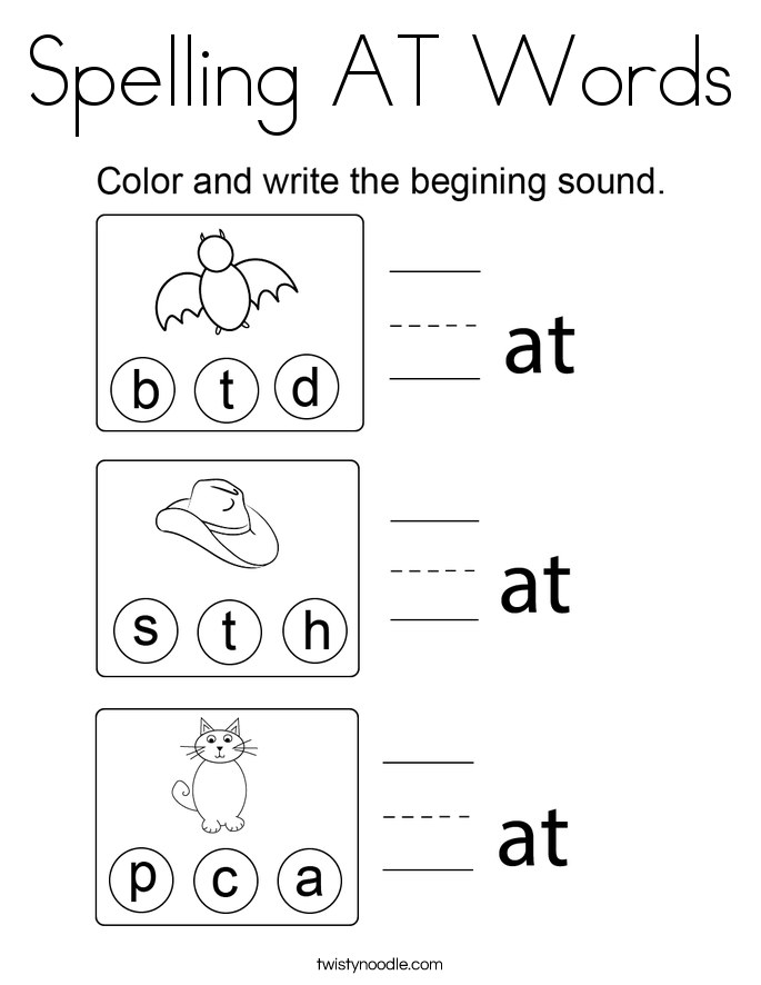 Spelling AT Words Coloring Page