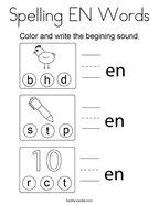 Spelling EN Words Coloring Page